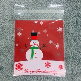 Wholesale Christmas Cookies Designs - 100pcs 10x11cm Christmas Design Snowman Red Slef-adhesive Biscuit Cookie bag
