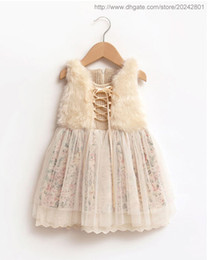 Wholesale Kids Princess Dress Fur - Girls winter floral princess dresses baby children lace clothing kids fur tulle clothes hot sell retail wedding party ES12DS86R
