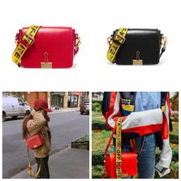Wholesale Body Clips - 17FW Off-White Black Red Genuine Leather Crossbody Bags Fashion Oblique Stripes Handbag Clip Shoulder Straps Bag