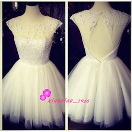 Wholesale Beaded Prom Gowns Wholesale - Ivory Sequined 2016 Short A-Line Graduation Dresses with Sheer Scoop Neck Cap Sleeves Backless Mini Homecoming Prom 2K15 Cocktail Gowns