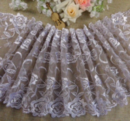 Wholesale Cotton Fabric Yard Flowered - (5 yards lot) DIY mesh lace white rose flower soft nylon+cotton embroidered lace trimming fabric high quality 20cm M65481