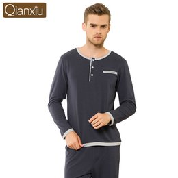 Wholesale Pajamas Top Bottoms - Wholesale-Qianxiu Brand Men Pajamas Set Autumn Fashion Cotton Long Sleeves Sleepwear Home Lounge Clothes Tops & Bottoms for Men
