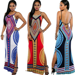 Wholesale white maxi sundress - Women Summer Maxi Dress 2016 Bodycon Party Dresses Plus Size Vestidos Sexy Sundress Backless Bandage Dashiki Boho Long Dress Casual Vintage