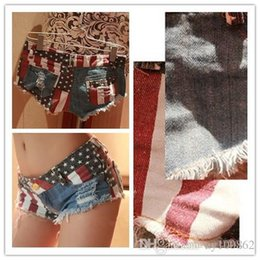 Wholesale Mini Anne - Xl Fashion 1PC Sexy Trousers Hot Sale Women American US Flag Mini Jeans Denim Low Waist Anne Short Set Running Romper Plus Size