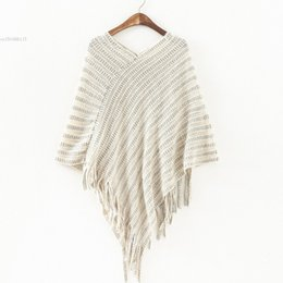 Wholesale Womens Poncho Wholesale - Wholesale-Womens Autumn Cape Ladies Batwing Sweater Poncho Turtleneck Pullovers Tassel Knitted Shawl Pull Femme Sweter