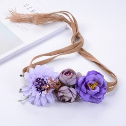 Wholesale Hairband For Bride - Flower Wreath Beach Hair Styling Tools Cloth Boho Floral Flower Leaf Hairband Headband for Party Bride Wedding