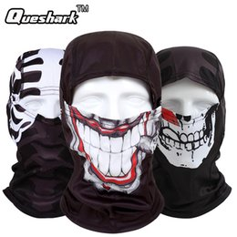 Wholesale ghost balaclavas - Wholesale- Skull Ghost Cycling Face Mask Neck Warmer Hat Balaclava Tactical Halloween Costume Full Face Mask Outdoor UV Protection Hood Hat