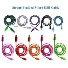 Wholesale Fiber Cords - Good quality 3FT 6FT 10FT Nylon Woven Cords Micro USB Fiber Fabric Braided Data Charger Cable Cord For Smartphone Cell Phone samsung S6 S7