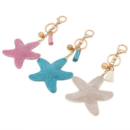Wholesale Keys Cover Cute - Cute Leather Key Chain for Car Key Ring Star Pendant Rhinestone Key Cover Women Three Colors