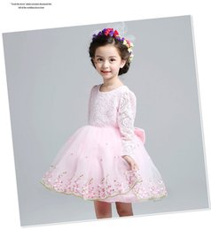 Wholesale Dresses Babyonline - kids Formal Lace babyonline dresses Princess Bridesmaid Flower Girl Dresses Wedding Party Dresses baby girl lace dress children