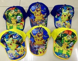 Wholesale Cap Pokemon - New Poke Go Hats Kids Pikachu Snapback Caps Cartoon Kids Sun Hats Poke Baseball cap Poke Go Snapbacks for kids Pikachu caps D667 10pcs