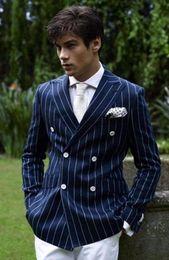 Wholesale Mens Pink Zipper Ties - Wholesale- 2017 Blue Stripe Brand New Mens Dinner Party Prom Suits Groom Tuxedos Groomsmen Wedding Blazer Suits (Jacket+Pants+Square+Tie)