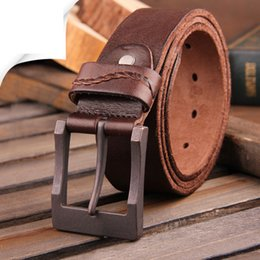 Wholesale Men S Real Leather Belts - 2017 real cow genuine leather men belt luxury buckle belts for men strap male pin buckle masculino cinturones hombre