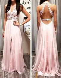 Wholesale Online Cheap Lace Front - Cheap Prom Dress 2016 Pink V Neck Sexy Cutout Open Back Lace Appliqued Top Sparkly Beaded Waist Floor Length Chiffon Prom Dress Online