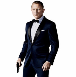 Deutschland Kostüm Homme Mariage Dunkelblau Männer Anzüge Neuesten Mantel-Hose Designs Inspiriert Von Anzug In James Bond Hochzeit Anzug Für Männer getragen cheap dark blue coat pant Versorgung