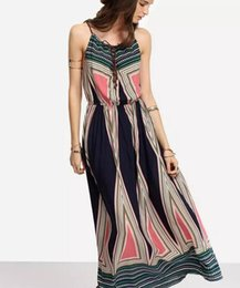 Wholesale Vacation Dresses - 9 Selling bohemian printed harnesses long skirt beach vacation dress
