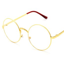 Wholesale Frameless Spectacles - Lisse Hot Sale Vintage Inspired Oversized Circle Clear Plain Glasses Alloy Frame Designer Outdoor Eyewear Spectacle for Women