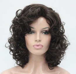 Wholesale Wig Chocolate - free shipping beautiful fashion Hivision New cute cosplay Dark Chocolate curly short women' full wig