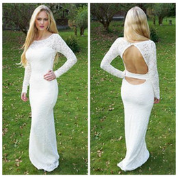 Wholesale Sheath Long Sleeve Homecoming Dresses - White Lace Sheath Homecoming Dresses With Long Sleeves 2017 Open Back Floor Length Slim Custom Online Evening Prom Party Gowns
