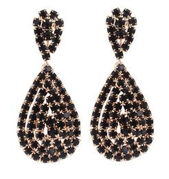 Wholesale Black Diamond Drop Earrings - European Drops Earrings Women Fashion Jewelry Black Diamond Stud Earring Lady 18K Gold Plated Party Earring Free Shipping