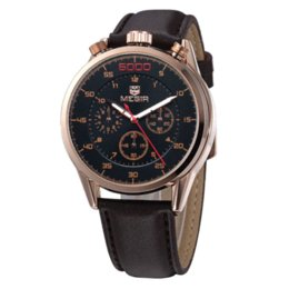 Wholesale Atm Waterproof Watch - Megir Brand Men Style Dress Quartz Watches 12 24 Hours Chronograph Function Analog Mens Casual Wristwatch Watch 3 ATM Waterproof