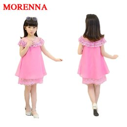 Wholesale Baby Pearls - MORENNA 2017 New Summer Costume Girls Princess Children's Evening Clothing Kids Chiffon Lace Dresses Baby Girl Party Pearl Dress