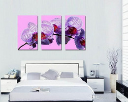 Wholesale Orchid Paintings Canvas - Modern Beautiful Butterfly Orchid Floral Painting On Canvas Giclee Print Wall Decor Set30390