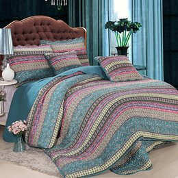 Wholesale King Size Bedding Collections - Handmade Bedding Set King Size luxury Striped Classical Cotton Quilted Bedspread Comforter Duvet Cover Set Printed Collection