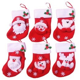 Wholesale Happy Bags - 12pcs mini Christmas stocking socks candy bag Christmas Gift Bag Navidad Storage Bags Decoration celebrate the happy festival
