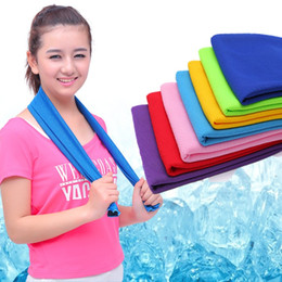 Wholesale compress sport - Hot Summer Sport Ice Towel 9-10 Colors 90*30cm Utility Enduring Instant Cooling Face Towel Heat Relief Reusable Chill Cool Towel 2 Materials