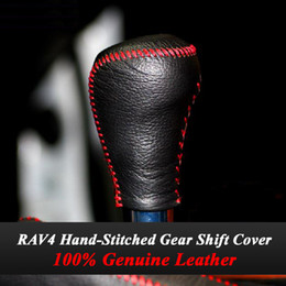Wholesale Car Shift Knob Cover - For 2014 2015 Toyota RAV4 RAV 4 AT Gear Shift Knob Cover Genuine Leather Hand-stitched Black Leather Gear Covers Car Accessories
