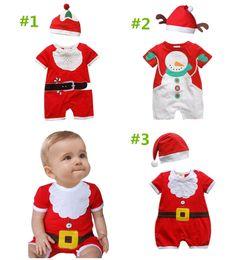 Wholesale Boy Set Fake - baby newborn jumpsuit hat kids girls boys rompers whieolsale Christmas set little santa bodysuit outfit clothes XMAS snowman fake beard suit
