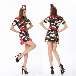 Wholesale Nurses Sexy Uniform - 2016 New Arrival Sexy Costumes Camouflage Nurse Cosplay With Hat For Women,Ladies Fashion Adult Halloween Clothes Uniforms