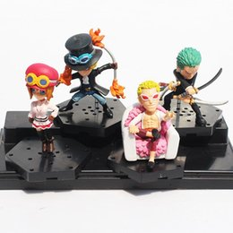 Wholesale Nami Anime - 4pcs Lot 6cm~8cm Mini Anime One Piece Zoro Sabo Koala Doflamingo Nami PVC Figures Model Toys