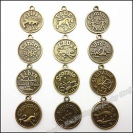 Wholesale Antique Coin Pendant - charms bicycle Mix 120pcs Vintage Charms 12 Constellation Pendant Antique bronze Fit Bracelets Necklace DIY Metal Jewelry Making