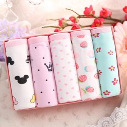 Wholesale Cartoon Women S Panties - Cute Cartoon Panties Gift Boxes Girls Cotton Panties Pink Sexy Underwear Women Lingerie Lace Jingmeilihe Girls Briefs Women S