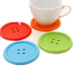 Wholesale Random Buttons - Wholesale- Creative Candy Color 2PCS Coaster Cup Mat Pads Household Supplies Round Mugs Silicone Button Shaped Holder Placemat Random Color