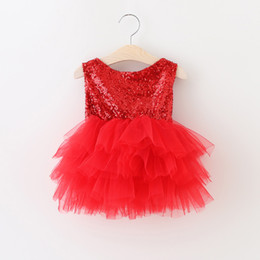 Wholesale Kids Solid Dresses Wholesale - 2017 Baby Girls Lace Sequins Dresses Kids Girls Princess tutu Party Dress Girl Christmas Summer Bow Dress baby clothes