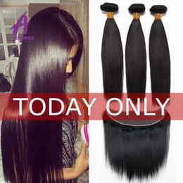 Wholesale Lace Closure Top Piece - Top 8A Mink Brazilian Virgin Hair With Closure Brazilian Straight Hair With Closure Ear To Ear Lace Frontal Closure With Bundles