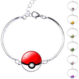 Wholesale Game Day Bracelet - Pokeball Glass Cabochon Silver Bangles Bracelets Go Pocket Monsters Game Poke Halder Vintage Style Time Gemstone Accessories Jewelry