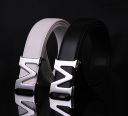 Wholesale boys cowboy belt - Designer Brand Men M Belts High Quality Genuine Leather Fashion Famous Belts Silver M Style Metal Buckle Cowboy Cintos Waist Strap ceinture