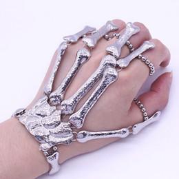 Wholesale Costume Hands - Halloween Props Gift Nightclub Party Punk Finger Bracelet Gothic Skull Skeleton Bone Hand Finger Bracelet Vintage Style