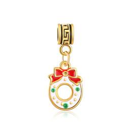 Wholesale Big Hole Beads Golden - Hanging Christmas festival Golden flower pendant Bracelet necklace beads accessories wholesale Big Hole Loose Beads charm For DIY Jewelry