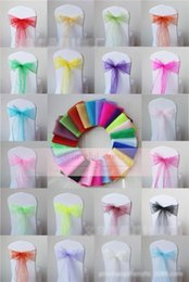 Wholesale Cheap Chairs Covers - 2017 Colorful 36 Colors Wedding Party Supplies Banquet Organza Sash Bows For Chair Cover 18X275cm Cheap Organza Chair Covers Sash Bows BB173