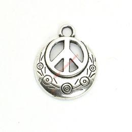 Wholesale Charm Bracelet Peace - 15pcs Antique Silver Plated Peace Sign Charms Pendants for Bracelet Jewelry Making DIY Necklace Craft 24x20mm