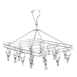 Wholesale hangers stainless - Durable 2.5mm Clotheshorse Square Metal Stainless Steel Clothes Rack Wind Proof Non Slip Hanger For Home 6 9fw B R