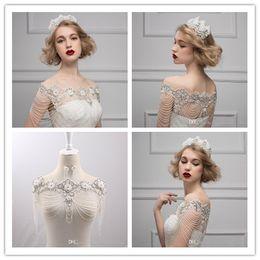 rote fauxpelz-achselzuckenjacke Rabatt 2016 neue Kristall Hochzeit Braut Wraps White Lace Perlen Sleeveless Off Schulter Hochzeit Zubehör Kostenloser Versand