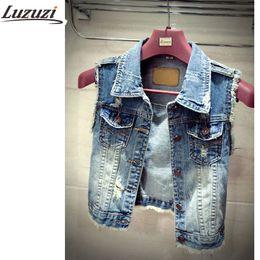 Wholesale Womens Summer Vest - Wholesale-Plus Size Denim Vest For Women Waistcoat Womens Autumn Sleeveless Summer Woman Vest Jacket YY331