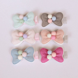 Wholesale Girls Hair Beads - 20pcs lot 2016 New Arrival Small Bow Baby Girl Hair Clip Light Pink Double Level Hair Bow With Beads Kids Hairpins Solid Cloth