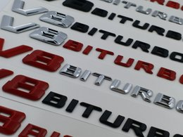 Wholesale Chrome Red Car - red Matt Black Chrome silver V8 BITURBO Car Trunk Rear Letters Word Badge Emblem Letter Decal Sticker for Mercedes Benz AMG